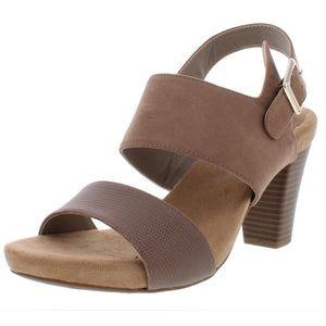 Giani Bernini Faux Leather Brown Heeled Sandal